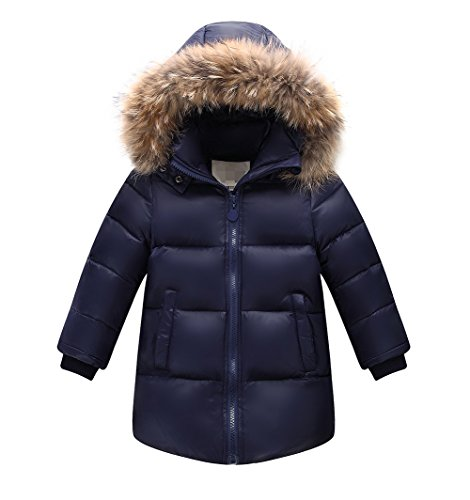 Kid Girls' Boys' Winter Down Puffer Jacket Coat with Fur Hood Navy Blue 10-11Y