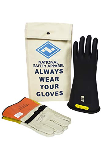 National Safety Apparel Class 2 Black Rubber Voltage Insulating Glove Kit with Leather Protectors, Max. Use Voltage 17,000V AC/ 25,500V DC (KITGC209)