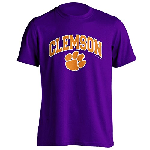 Clemson University Tigers Purple Arch Paw Print Short Sleeve T-Shirt (S)