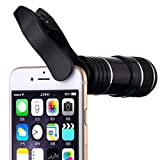 Vorida Cell Phone Camera Lens Kit, 12X Telephoto Lens Clip-on Lenses Phone Lens with Fisheye Lens, Compatible for iPhone X 8 7 6 Plus iPad Samsung etc. Smartphone