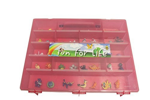 Pokemon TM Compatible Organizer - Fun For LifeTM Is The Perfect Pokemon TM figure Compatible Storage Case - Fits Up Approx 200 Characters, [Sturdy Case And Carrying Handle-Strawberry/Pink]]()