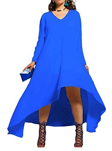 Cromoncent Femmes De Grande Hauteur À Manches Longues Balançoire Plissé Longues Chemises Habillées Haut Bleu