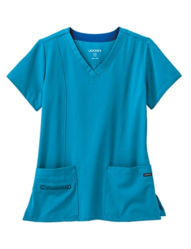 Modern Fit Collection By Jockey Women's Zipper Pocket V-Neck Solid Scrub Top Large Turquoise Modern Collection