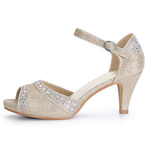 Toe Allegra Heels Gold Glitter Ankle K Strap Rhinestone Peep Women Sandals Champagne rtFwt
