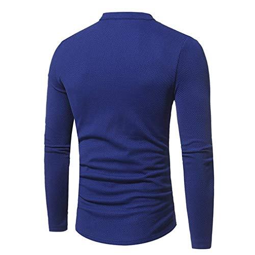 Lunghe Unico Fit A Stile Da Girocollo Blau Basic Maniche Slim Maglietta Uomo z0qEzd
