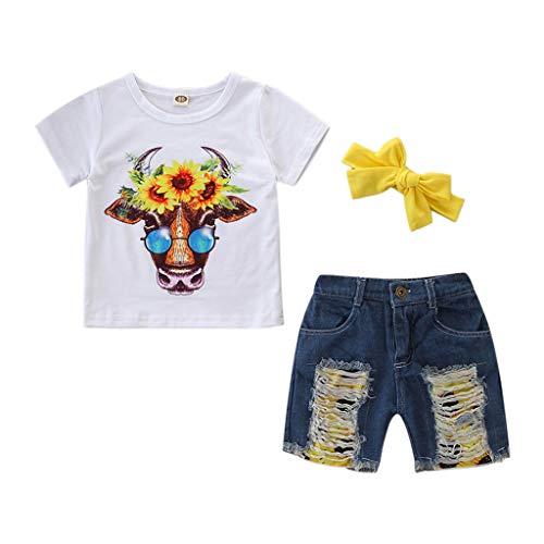 (Toddler Fashion Outfits, Kids Baby Girls Outfits Clothes Sunflower Print T-Shirt+Denim Shorts Set lkoezi O-Neck Cotton Tpos lkoezi)
