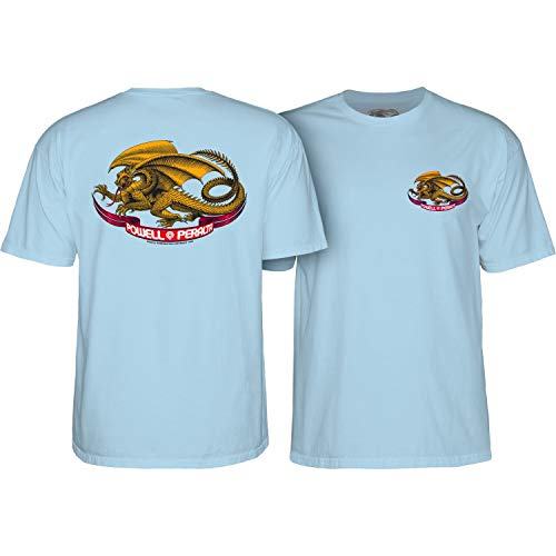(Powell-Peralta Oval Dragon (Powder Blue) T-Shirt-Large)