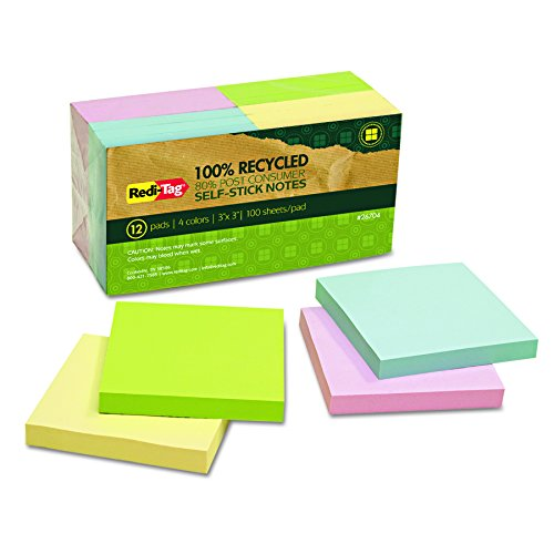 Recycled Self Stick Notes - Redi-Tag 26704 100% Recycled Notes, 3 x 3, Four Colors, 100-Sheet Pad (Pack of 12 Pads)