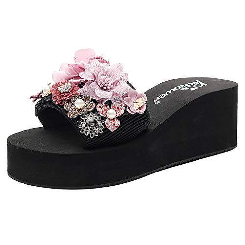 Cenglings Women Casual Open Toe Floral Wedges Slippers Bohemian Sandals Slip On Platform Slippers Beach Shoes Slides Pink