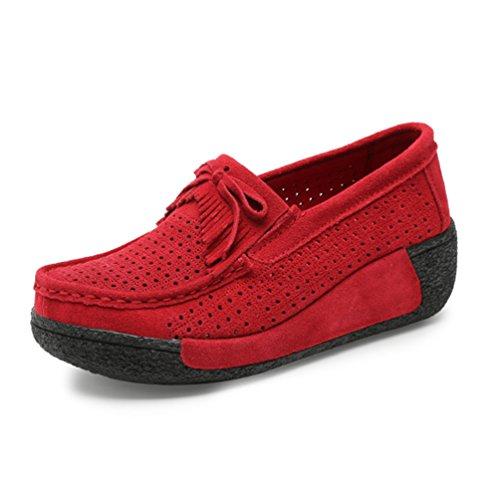 Pampilles Jrenok Compensé Mocassins 40 Haute Avec Respirantes Chaussures 7 35 Loisir Femme Plateforme Confort À Rouge Cm qSOrnUqE