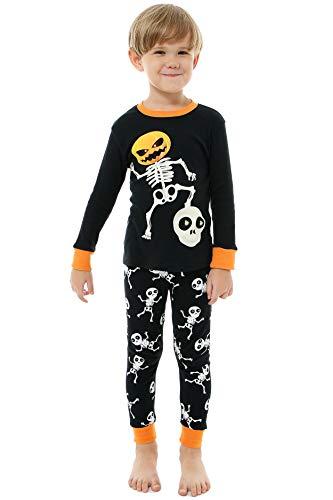 AMGLISE Little Boys Girls Halloween Pajamas Skeleton Glow Pjs Kids Sleepwear Set 8