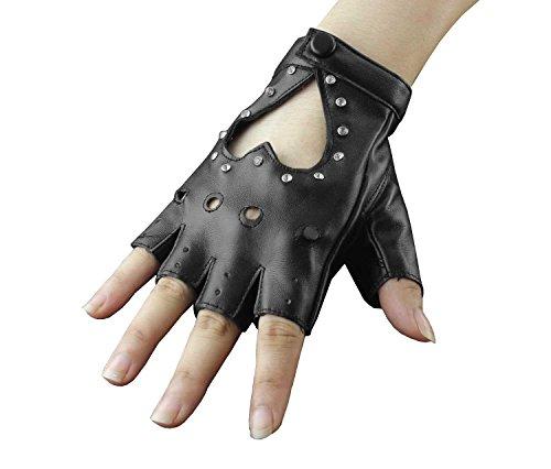 Womens Girls Studded Punk Rock Fingerless Half Finger Leather Gloves - Kid Leather Driving Gloves