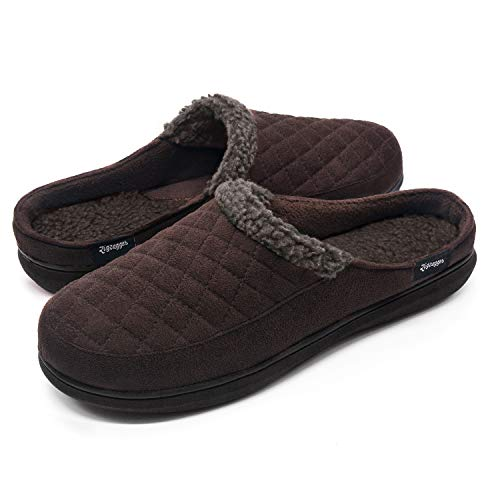 Zigzagger Mens Suede Fabric Memory Foam Slippers Fleece Lined Slip On Clog House Shoes Indoor/Outdoor,Coffee,11-12 D(M) US