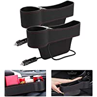 Riiai 2 Packs Car Seat Organiser Leather Car Seat Gap Filler, Multifunctional with Cup Holder, Storage Box, USB Charging…