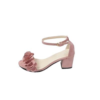 Aelegant Femme Sandales Été Bohémien Rétro Chaussures de Soirée Plage Peep-Toe Talon Haut Bout Ouvert Sandales Romain