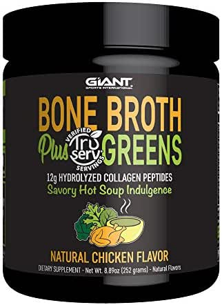 Giant Sports Bone Broth Plus Greens & Collagen Peptides Protein Powder | USDA Certified Organic | For Healthy Skin, Nails, Hair, Joints & Digestion | Keto Friendly | Natural Chicken Flavor 14 Servings