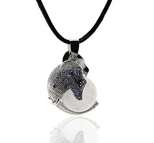 White Jade Elephant Pendant (Healing Chakra Gemstone Crystal Elephant Charm Pendant Leather Necklace)