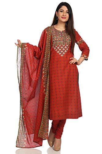 BIBA Women's Rust Cotton Salwar Kameez Dupatta Size - Suit Cotton Salwar
