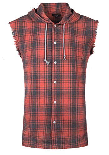 NUTEXROL Mens Sleeveless Fannel Shirt Casual Cotton Plaid Vest Hoodies Orange 3XL (Plus Size Flannel Hoodie)