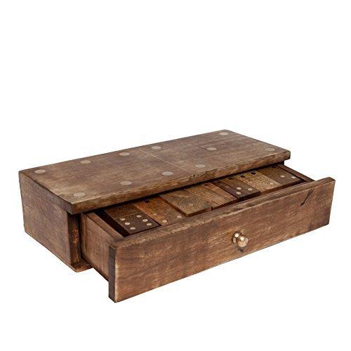 GoCraft Handmade Wooden Dominoes Set | Double Six Professional Jumbo Size Dominoes Set with Decorative Wooden Storage Box