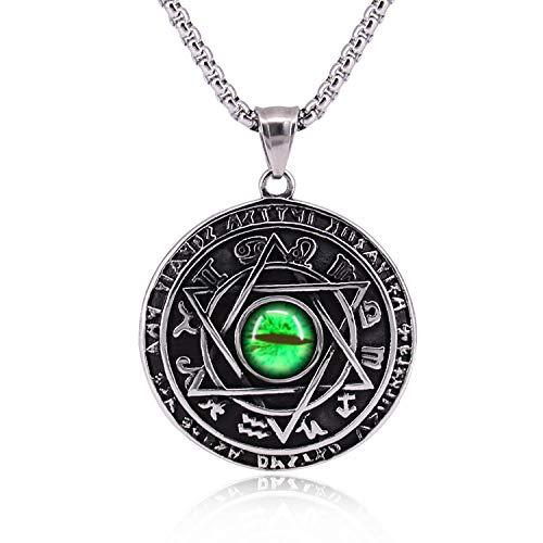 Qisheng Men's Stainless Steel Hexagram Green Cat Dragon Evil Eye Solomon Pendant Amulet Necklace,11.5 Inch Chain ()