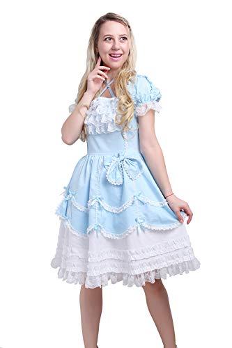 Women Girls Princess Dress Classic Sweet Lolita Dress Multi Layers French Maid Costume Bowknot