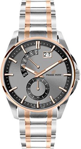 Pierre Petit Men's P-793E Le Mans Luminous Big Date Two Tone Stainless Steel Bracelet Watch