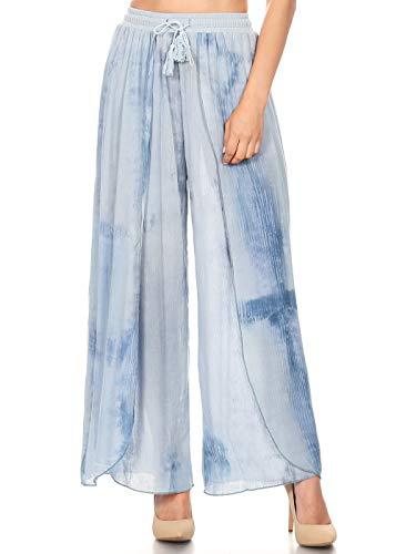 Anna-Kaci Layered Mineral Wash Tulip High Waist Wide Leg Crop Capri Palazzo Pants (Blue Moon, Medium) ()