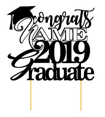 - All About Details Personalized Congrats NAME 2019 Graduate Cake Topper