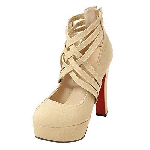 Azbro Mujer Zapatos Bomba de Tacón Bloque Recorte con Puntera Redonda Beige