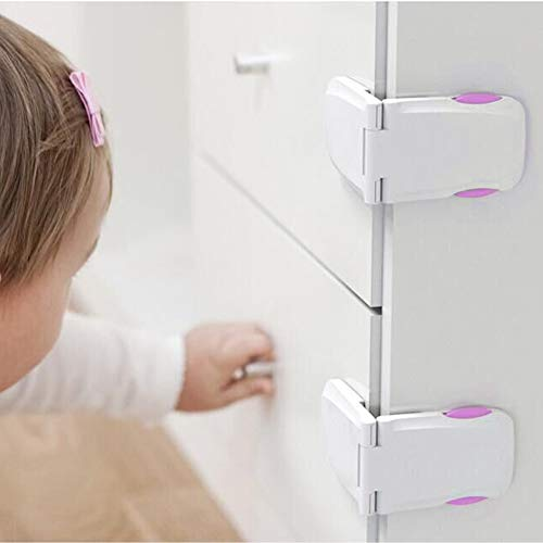 [4 Pack] Baby Safety Locks for Child Proof Cabinets, Drawers, Appliances, Fridge and Oven by QJQBMAI(White&Red)