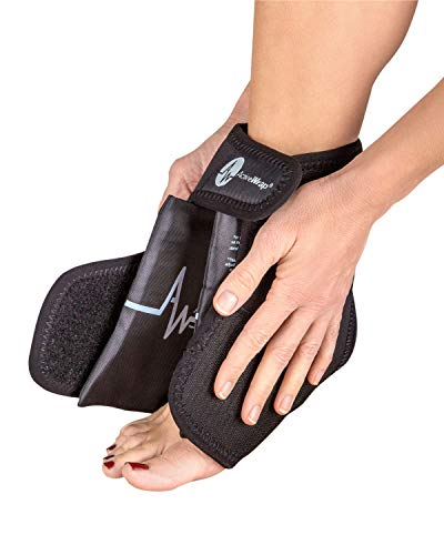 AW ACTIVEWRAP Foot & Ankle Ice Pack Wrap with Reusable Hot Cold Packs for Plantar Fasciitis Pain Achilles Injuries - Small/Medium