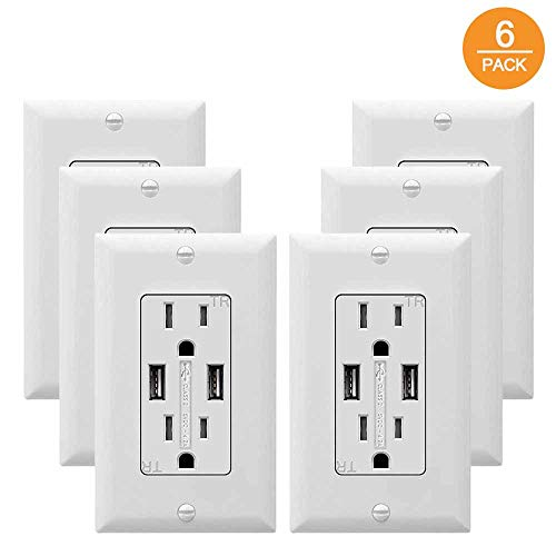 (SZICT USB Outlet Receptacle, 6 Pack UL-listed 4.2A TR Ultra-fast USB Charging Receptacle 2 USB Ports Receptacle Charger, 15A Wall Receptacle Outlet with Wall Plate, White)