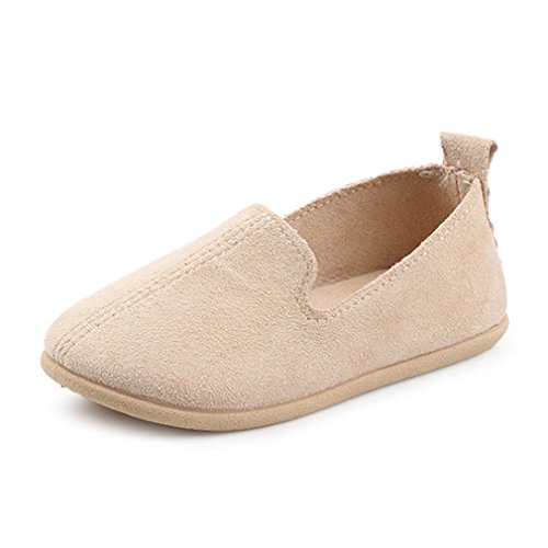 (UNI Angel Toddler Loafers Little Kid Girl Boy Suede Slip-on Loafers Casual Comfort Flat Shoes Beige )