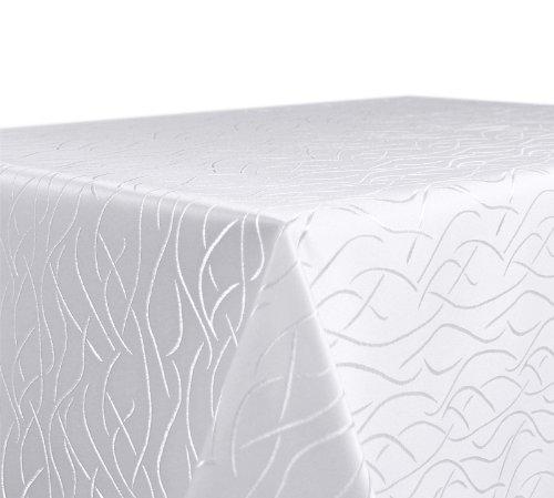 Tischdecke, FARBE wählbar, Streifen Damast Textil, Bügelfrei, Eckig 130x300 cm, Weiß