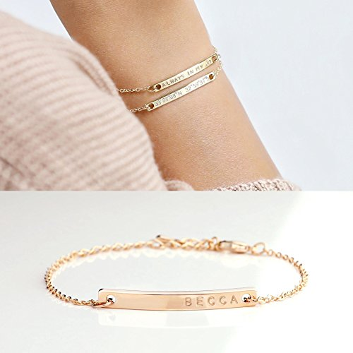 Same Day Shipping Before 12PM Personalized Name Plate Gold Bar Bracelet Handmade Bridesmaid Gifts Anniversary For Mother Best Friend Gifts For Mom Christmas Gift For Women - (Gold Mother)