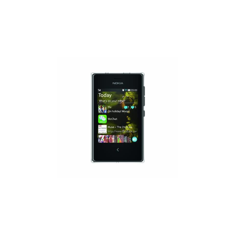 """Nokia Asha 503 Unlocked GSM 3G Phone with 3"""" Touchscreen and 5MP Camera   Black Cell Phones & Accessories"""