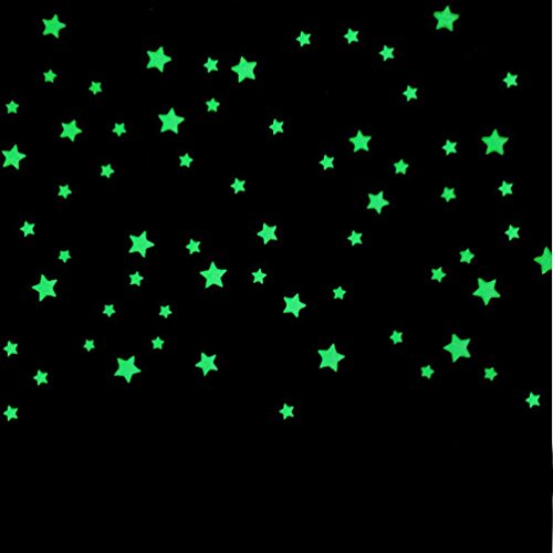Glow In The Dark Stars Wall Stickers 100PC, Kids Bedroom Beautiful Wall Decals Starry Sky By (Fells Point Halloween)