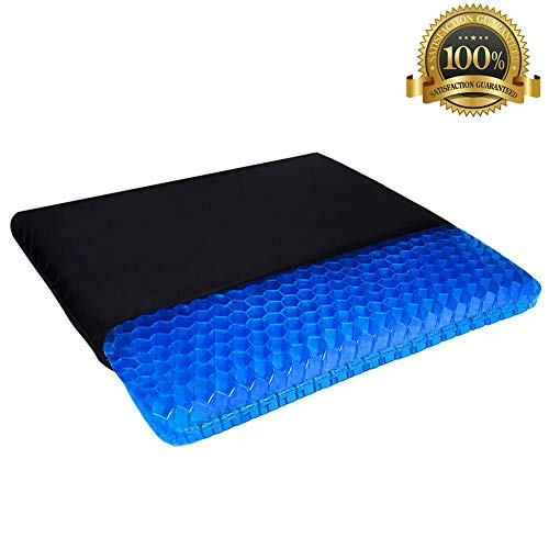 Gel Seat Cushion, Double Thick Egg Gel Cushion for Pressure Pain Relief, Breathable Wheelchair Cushion Chair Pads for Car Seat Office Chair (16 * 14 * 1.65inch)