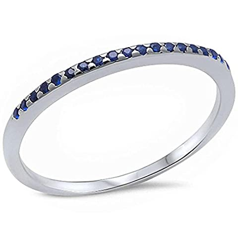 1.5mm Half Eternity Wedding Band Ring 925 Sterling Silver Simulated Blue Sapphire, Size-8 - Blue Sapphire Eternity Ring