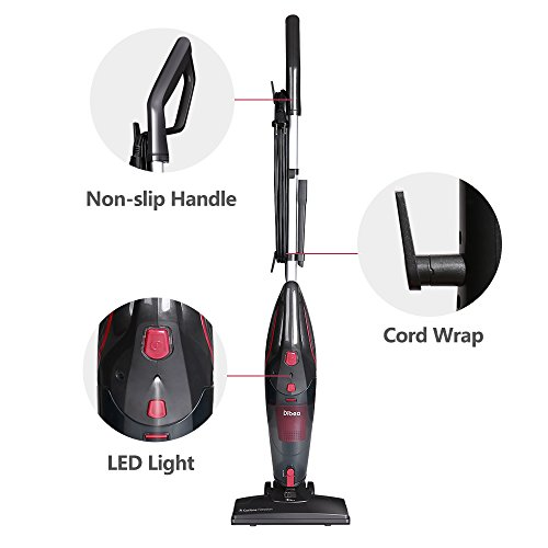 Dibea 600W Lightweight Corded Stick Vacuum Cleaner, 2 in 1 Bagless Hard Floor Pet Hair Vacuum with Cyclone HEPA Filtration & Crevice Tool-SC4588 by Dibea (Image #4)