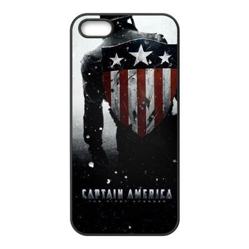 Captain America Hd coque iPhone 5 5S cellulaire cas coque de téléphone cas téléphone cellulaire noir couvercle EOKXLLNCD22645