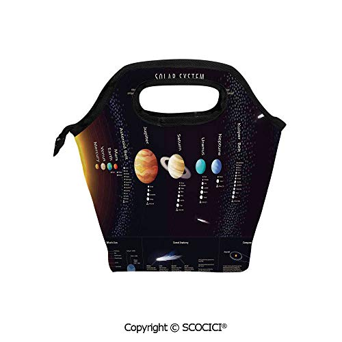 Portable thickening insulation tape Lunch bag Detailed Solar System with Scientific Information Jupiter Saturn Universe Telescope Print for student cute girls mummy bag.