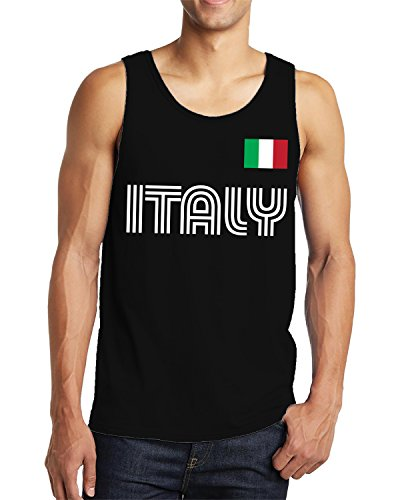 SpiritForged Apparel Italy Soccer Jersey Men's Tank Top, Black Medium