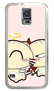 galaxy s5 case,custom samsung galaxy s5 case,TPU Material,Drop Protection,Shock Absorbent,Transparent case,cute cartoon patternGemini kitten
