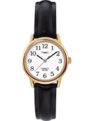 Timex Womens T20433 Easy Reader Gold-Tone and Black Leather Watch
