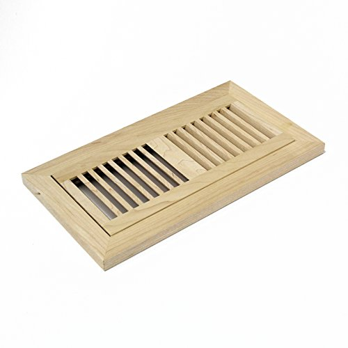 (4 X 10 Inch Maple Wood Flush Mount Louver Floor Register Vent Cover Grille Unfinished by WELLAND, Fits 5/8