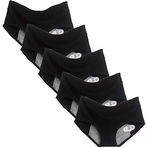 ETAOLINE Women's Period Panties Menstrual Leakproof Brief Maternity Hipster Postpartum Bleeding Underwear, Pack of 5 Black