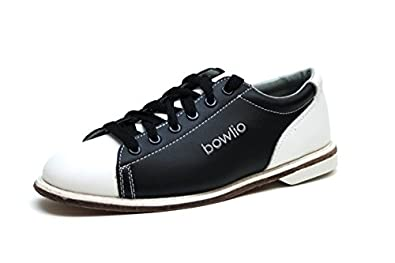 Bowlio Classic - Leather Tenpin Bowling Shoes in black and white ...