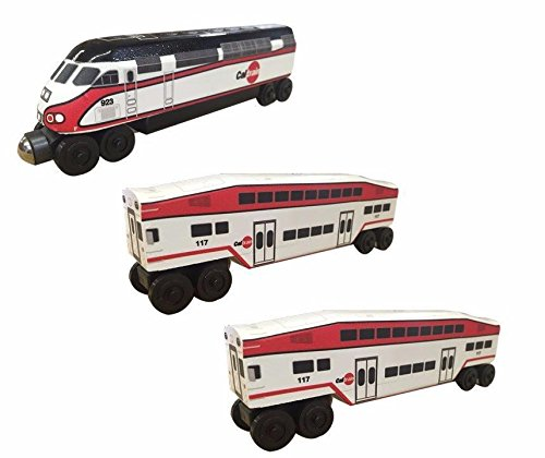 (CalTrain MP-36 - 3 Car Set Wooden Toy Train by Whittle Shortline Railroad -)